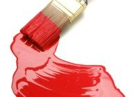 paintbrush and red paint blob(w/clipping path)